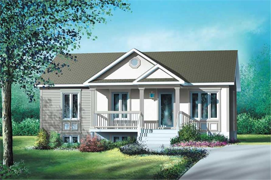 3-Bedroom, 1102 Sq Ft Country House Plan - 157-1322 - Front Exterior