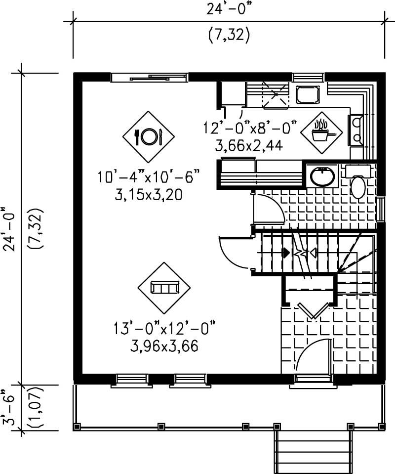 Ranch home plan 3 bedrms 1 baths 1152 sq ft 157 1328 for Cost to build a 576 sq ft house