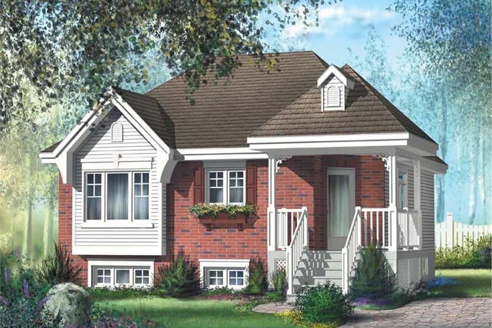 Color rendering of Bungalow home plan (ThePlanCollection: House Plan #157-1342)