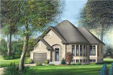 1-Bedroom, 968 Sq Ft Small House Plans - 157-1344 - Main Exterior