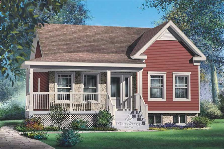 Front elevation of Bungalow home (ThePlanCollection: House Plan #157-1356)
