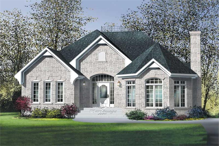 3-Bedroom, 1602 Sq Ft European House Plan - 157-1361 - Front Exterior