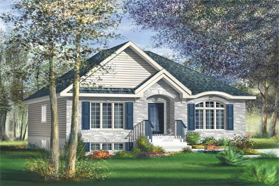 3-Bedroom, 1110 Sq Ft Bungalow Home Plan - 157-1364 - Main Exterior