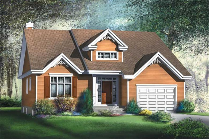 Front elevation of Bungalow home (ThePlanCollection: House Plan #157-1382)