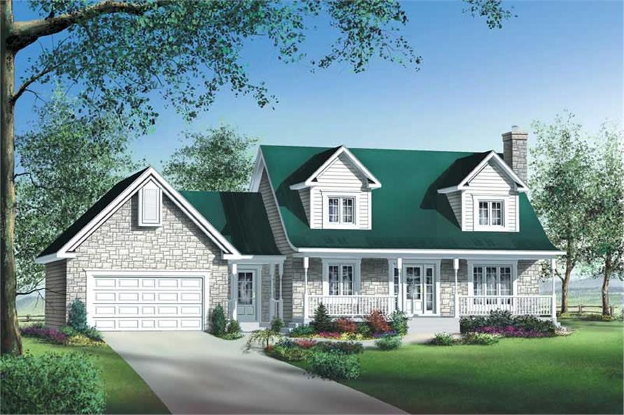 3-Bedroom, 1706 Sq Ft Multi-Level Home Plan - 157-1383 - Main Exterior