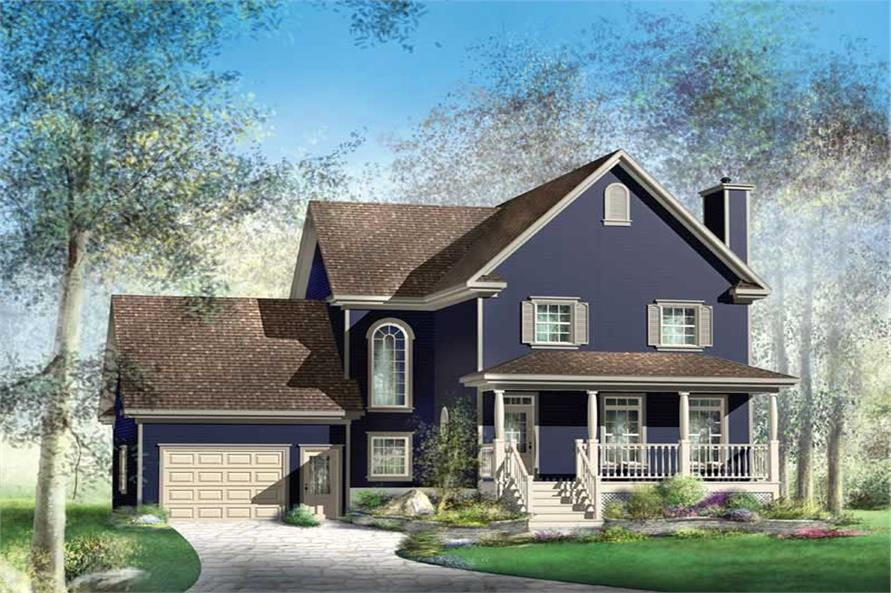 3-Bedroom, 2216 Sq Ft Multi-Level House Plan - 157-1384 - Front Exterior