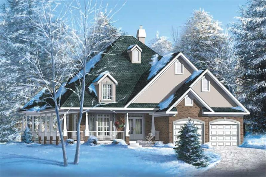 3-Bedroom, 1974 Sq Ft Bungalow House Plan - 157-1392 - Front Exterior