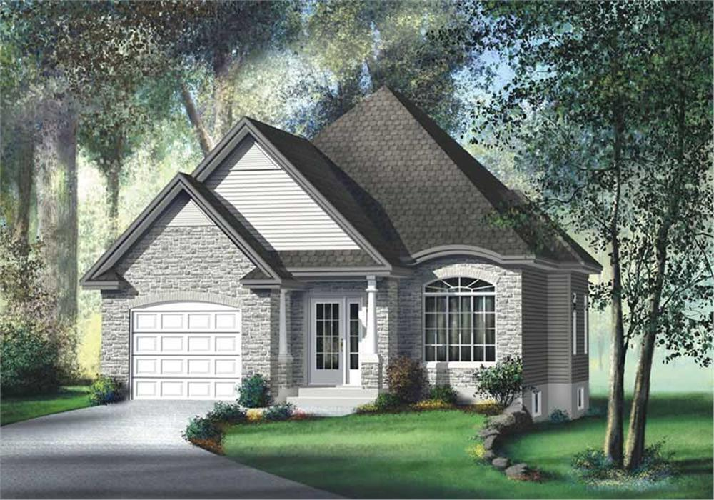 Front elevation of Bungalow home (ThePlanCollection: House Plan #157-1398)
