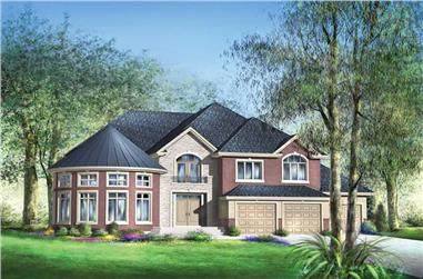 5-Bedroom, 5609 Sq Ft Country Home Plan - 157-1409 - Main Exterior