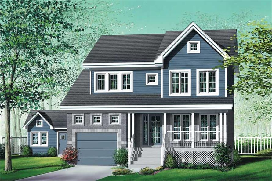 3-Bedroom, 1860 Sq Ft Multi-Level House Plan - 157-1410 - Front Exterior