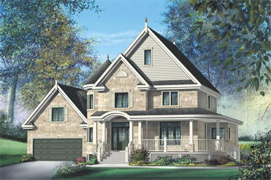 3-Bedroom, 2563 Sq Ft Country Home Plan - 157-1414 - Main Exterior