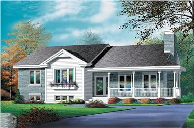 3-Bedroom, 1321 Sq Ft Country House Plan - 157-1422 - Front Exterior
