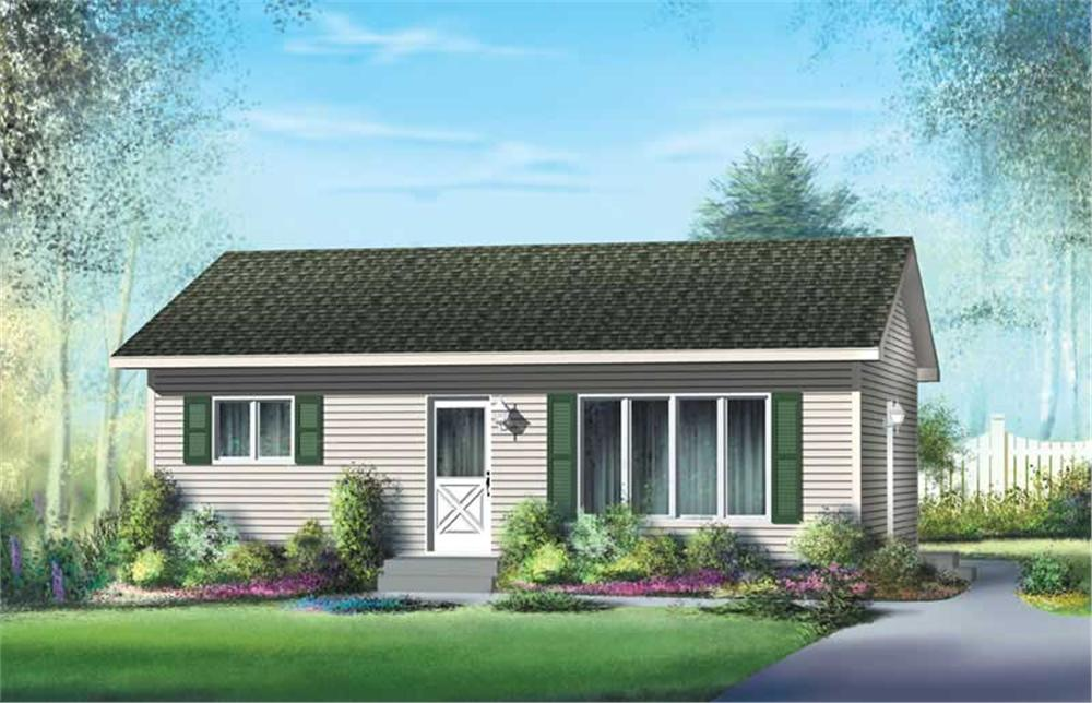 Front elevation of Ranch home (ThePlanCollection: House Plan #157-1451)