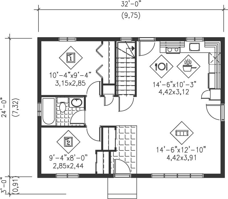 Ranch house plan 2 bedrms 1 baths 768 sq ft 157 1451 Floor plans for houses