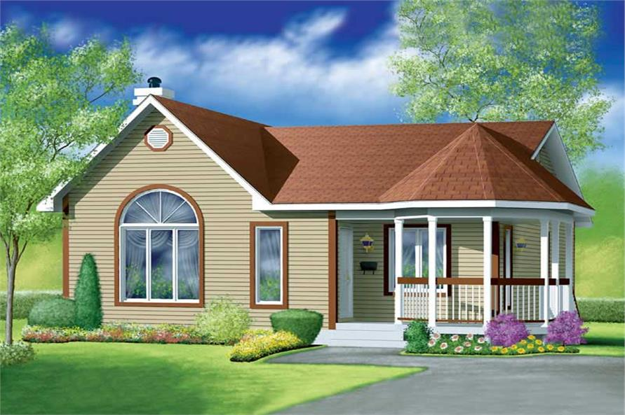 2-Bedroom, 1040 Sq Ft Country House Plan - 157-1456 - Front Exterior