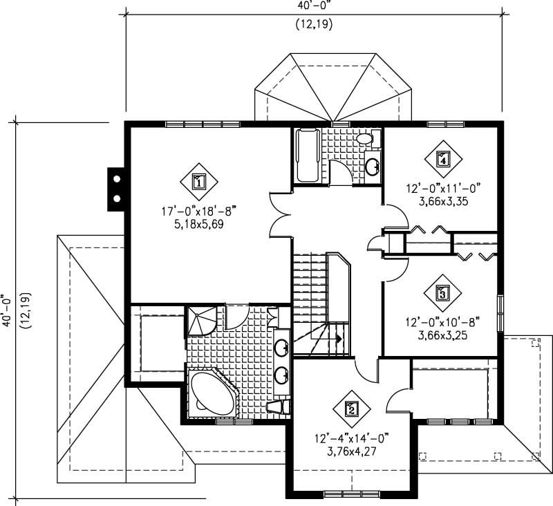 Multi level house plan 4 bedrms 3 baths 2525 sq ft for Multi level floor plans