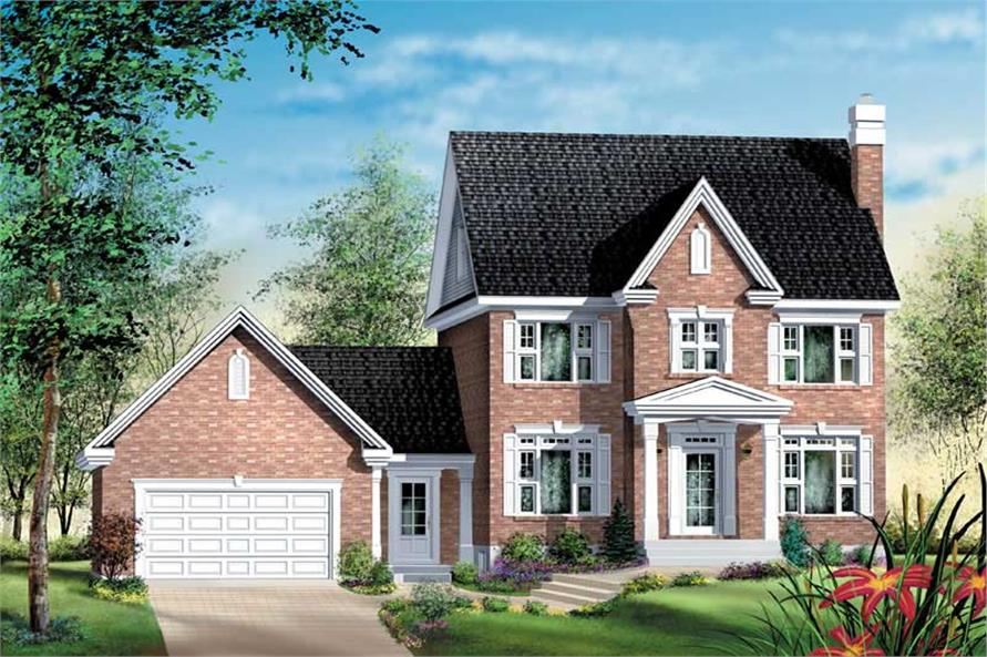 3-Bedroom, 2393 Sq Ft Colonial House Plan - 157-1464 - Front Exterior