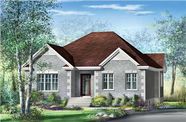 3-Bedroom, 1263 Sq Ft Bungalow House Plan - 157-1474 - Front Exterior