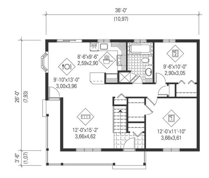 ... Floor Plan First Story Of Ranch Plan #157 1475