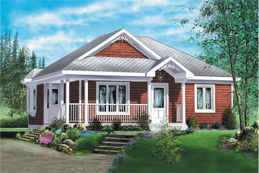 Color rendering of Ranch home plan (ThePlanCollection: House Plan #157-1475)