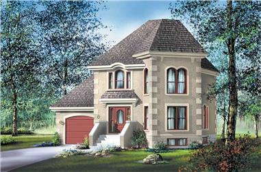 3-Bedroom, 1472 Sq Ft European House Plan - 157-1485 - Front Exterior