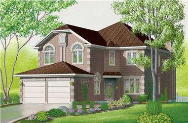 4-Bedroom, 2596 Sq Ft European House Plan - 157-1486 - Front Exterior