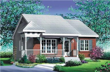 2-Bedroom, 874 Sq Ft Country House Plan - 157-1494 - Front Exterior
