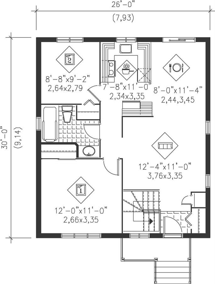 Bungalow Floor Plan 2 Bedrms 1 Baths 780 Sq Ft 157 1501