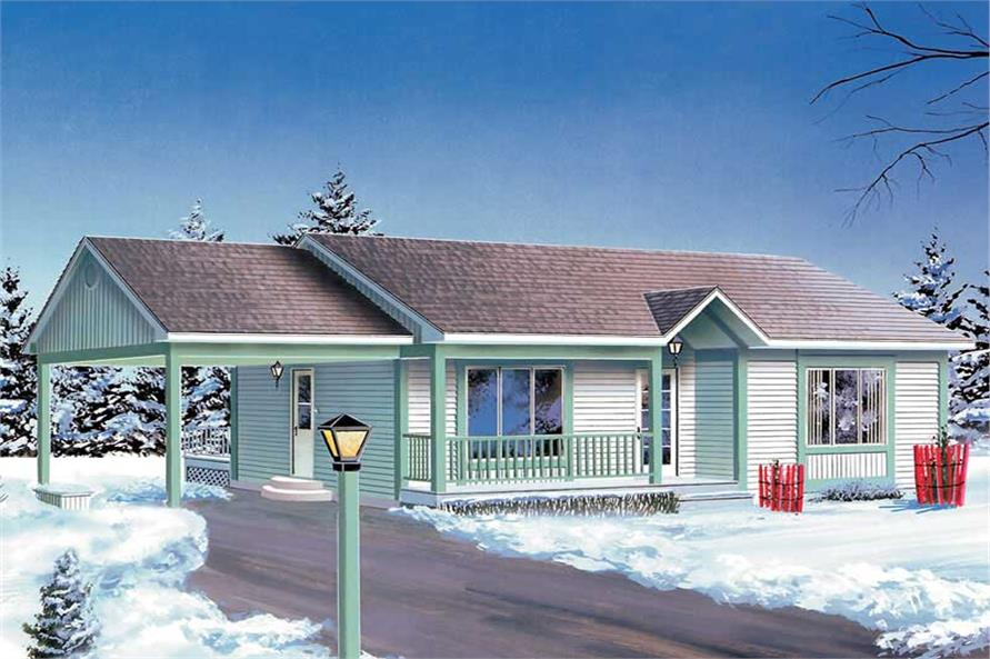 2-Bedroom, 946 Sq Ft Country House Plan - 157-1521 - Front Exterior