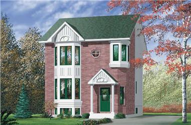 2-Bedroom, 1383 Sq Ft Colonial House Plan - 157-1525 - Front Exterior