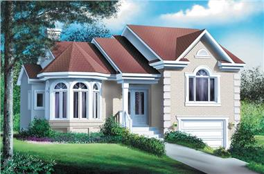 3-Bedroom, 1422 Sq Ft French House Plan - 157-1571 - Front Exterior