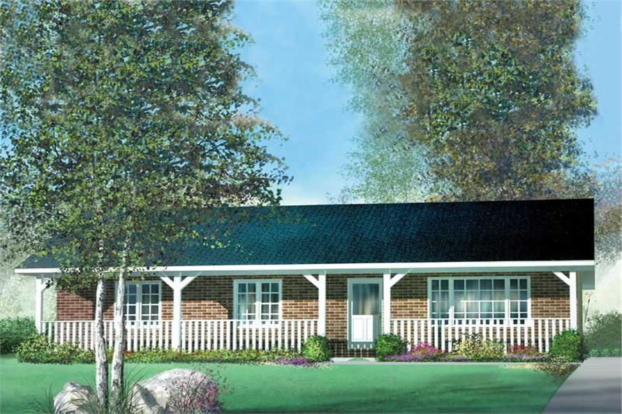 3-Bedroom, 1029 Sq Ft Country Home Plan - 157-1572 - Main Exterior