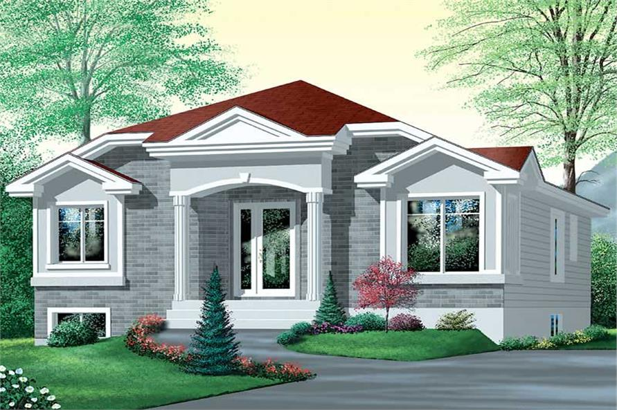3-Bedroom, 1110 Sq Ft Bungalow House Plan - 157-1590 - Front Exterior