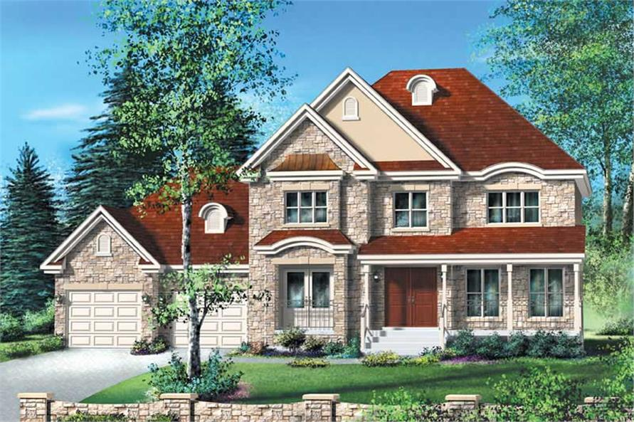 4-Bedroom, 2153 Sq Ft Multi-Level Home Plan - 157-1594 - Main Exterior