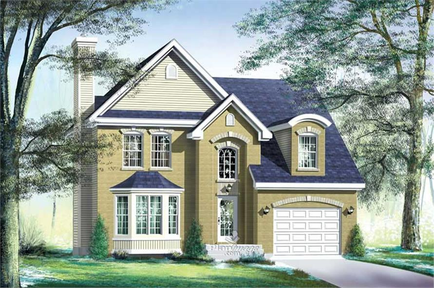3-Bedroom, 1881 Sq Ft Multi-Level House Plan - 157-1597 - Front Exterior