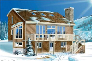 4-Bedroom, 1294 Sq Ft Log Cabin House Plan - 157-1601 - Front Exterior