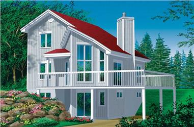 3-Bedroom, 993 Sq Ft Country Home Plan - 157-1636 - Main Exterior