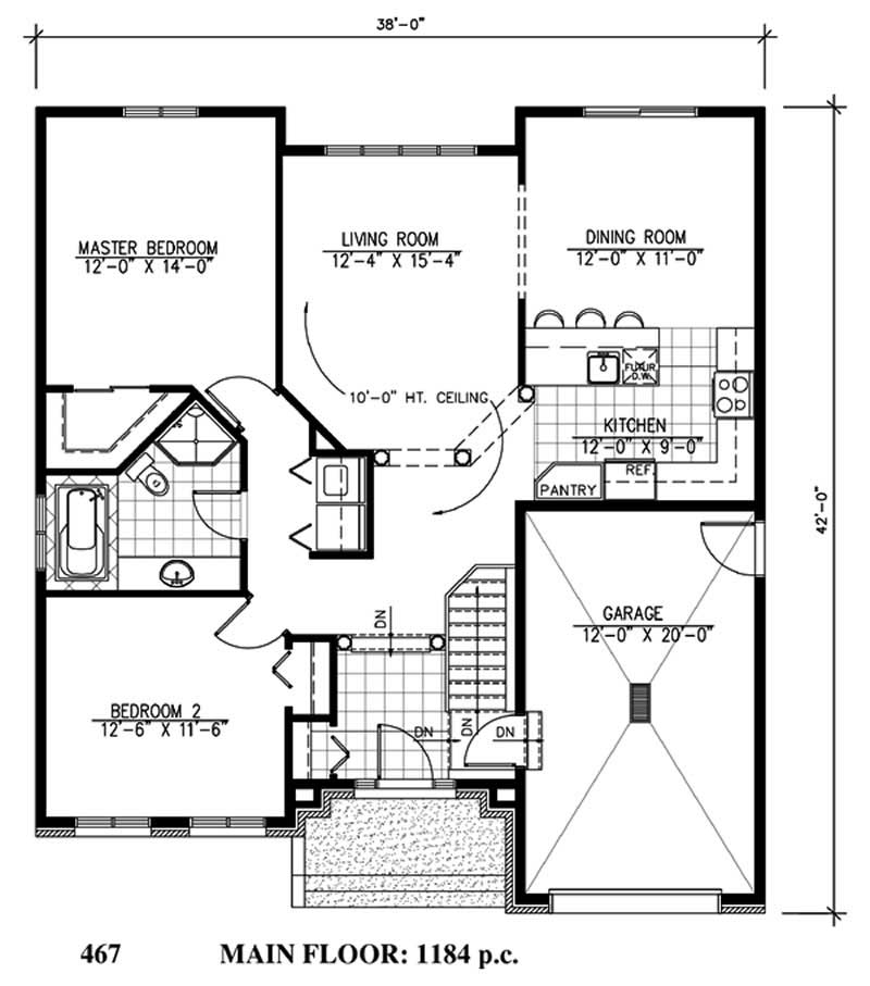 Small bungalow house plans home design pdi467 for 1000 sq ft house plans first floor