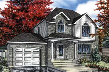 3-Bedroom, 1335 Sq Ft European House Plan - 158-1004 - Front Exterior