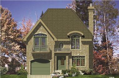 3-Bedroom, 1417 Sq Ft European House Plan - 158-1013 - Front Exterior