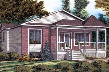 2-Bedroom, 844 Sq Ft Bungalow Home Plan - 158-1016 - Main Exterior