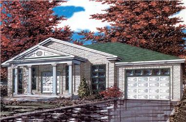 3-Bedroom, 1190 Sq Ft Bungalow House Plan - 158-1017 - Front Exterior