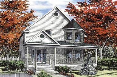 3-Bedroom, 1394 Sq Ft Country Home Plan - 158-1018 - Main Exterior