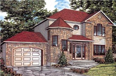 3-Bedroom, 1360 Sq Ft European House Plan - 158-1023 - Front Exterior