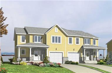 3-Bedroom, 3683 Sq Ft Multi-Unit House Plan - 158-1026 - Front Exterior