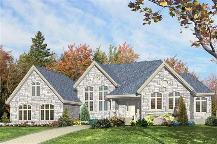 Here we have the colorful 3D computer rendering of the front elevation for these Country House Plans