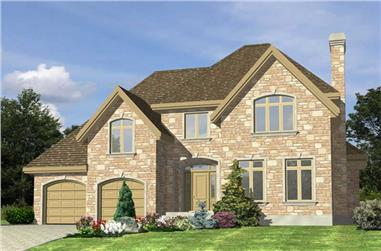 3-Bedroom, 1893 Sq Ft European House Plan - 158-1032 - Front Exterior