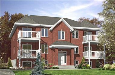 2-Bedroom, 5598 Sq Ft Multi-Unit House Plan - 158-1037 - Front Exterior