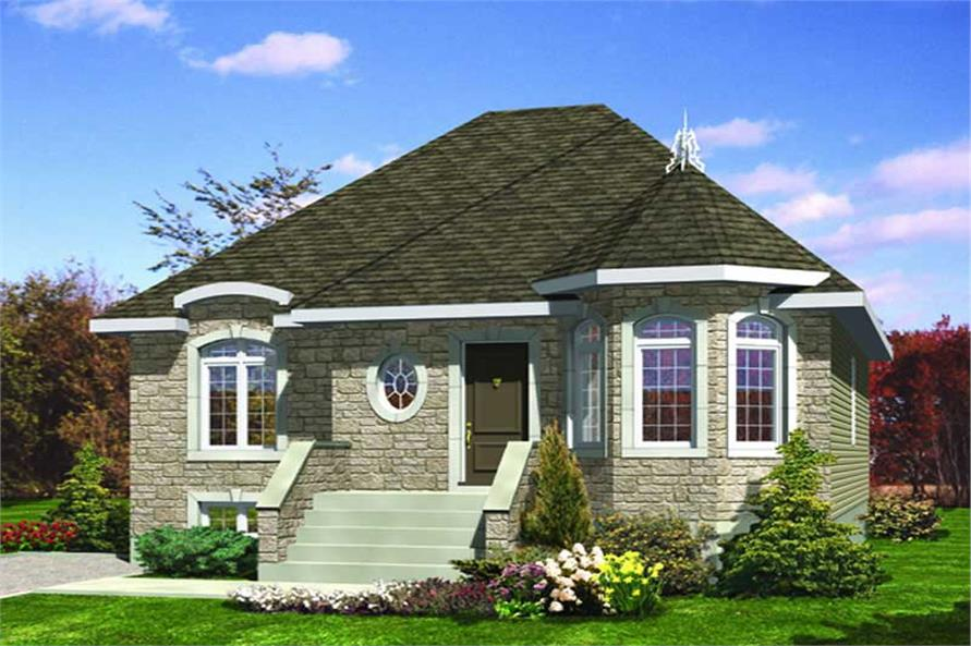 3-Bedroom, 1008 Sq Ft Bungalow House Plan - 158-1040 - Front Exterior