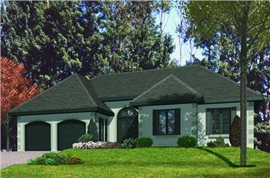 3-Bedroom, 1734 Sq Ft Ranch House Plan - 158-1054 - Front Exterior